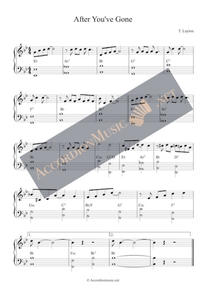 After You've Gone - easy accordion sheet music