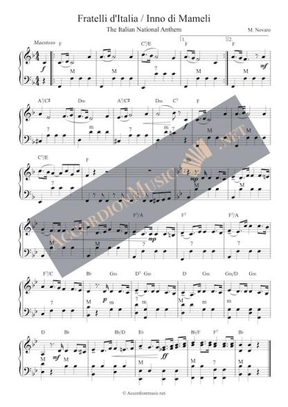 The national anthem of Italy - Fratelli d'Italia aka Inno di Mameli. Accordion arrangement.