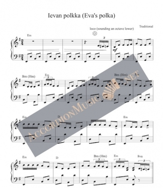 Accordion sheet music to Ievan polkka (Ieva's polka) aka Ellin polkka