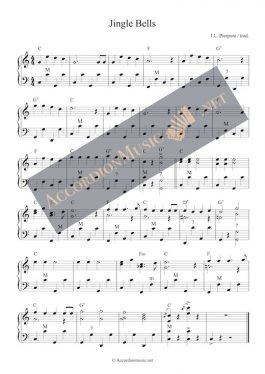 Jingle Bells - christmas song - accordion sheet music (easy)
