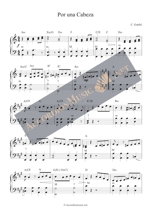 Por una Cabeza by Carlos Gardel - accordion sheet music