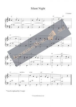 Silent Night - christmas carol - accordion sheet music (easy)