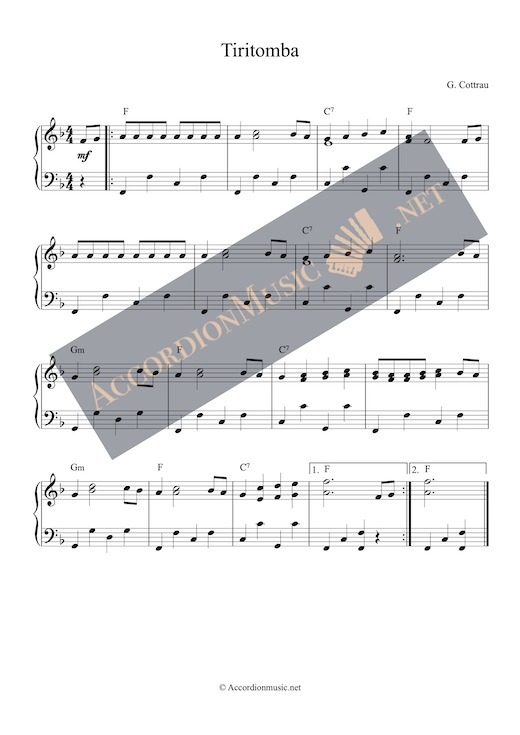 Tiritomba - accordion sheet music arrangement