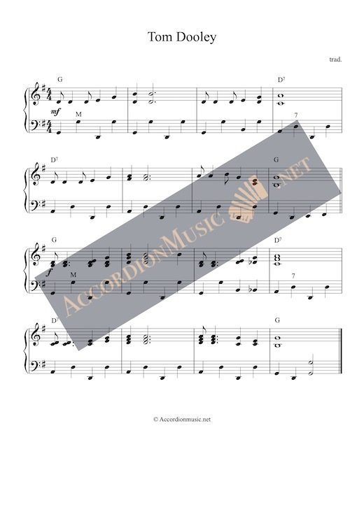 Accordion sheet music arrangement of Tom Dooley