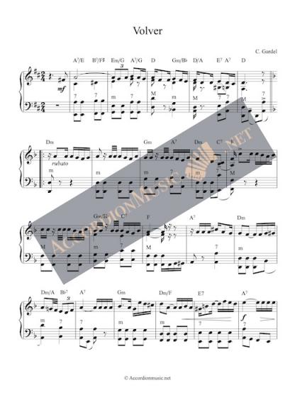 Volver by Carlos Gardel - accordion sheet music