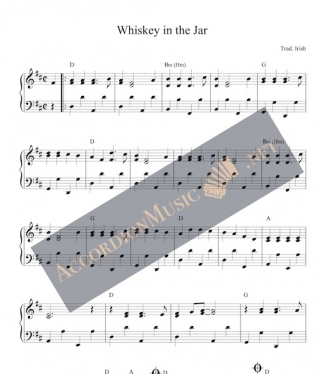 Accordion sheet music to the Irish song Whiskey in the Jar