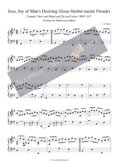 Bach: Jesu, Joy of Man's Desiring (Jesus bleibet meine Freude) button accordion sheet music