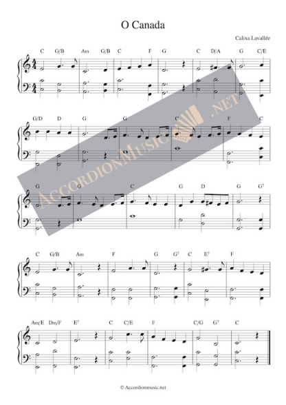 O Canada - the Canadian national anthem – sheet music for accordion