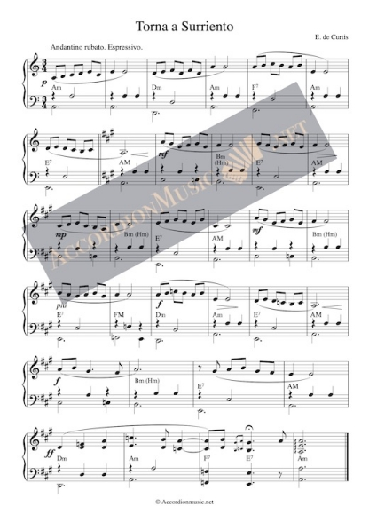 Torna a Surriento accordion sheet music