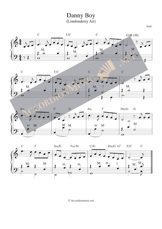 Danny Boy aka Londonderry Air accordion sheet music