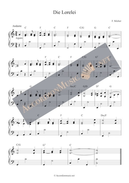 Accordion sheet music of Die Lorelei by Silcher