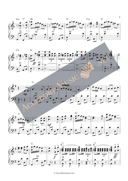 Accordion score of Espana Cani, page 3