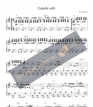 Accordion sheet music of Espana Cani, the Spanish Gypsy Dance