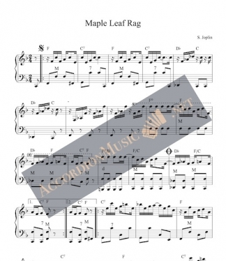 Sheet music to the Maple Leaf Rag by Scott Joplin as accordion arrangement