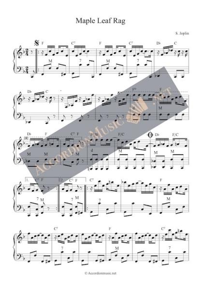 Sheet music to the Maple Leaf Rag by Scott Joplin as accordion arrangement