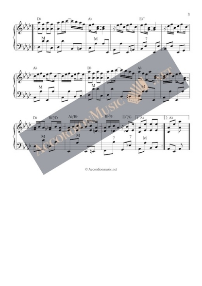 The Maple Leaf Rag by Scott Joplin as accordion arrangement - alternative key - page 3