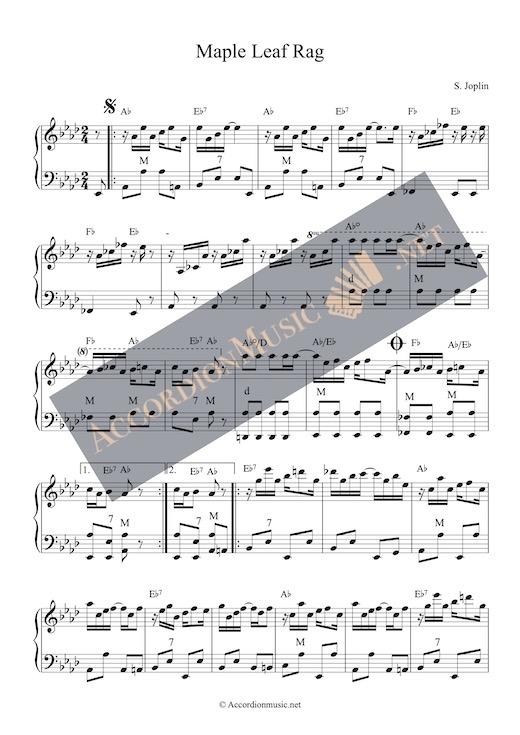 The Maple Leaf Rag by Scott Joplin as accordion arrangement - alternative key