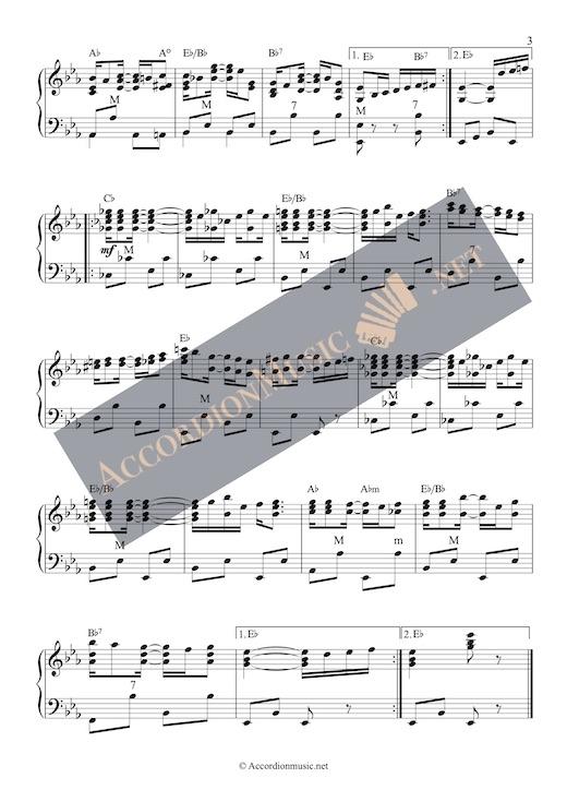 Pineapple Rag by Scott Joplin - accordion arrangement sheet music - page 3