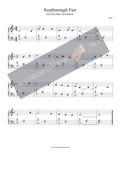 Free bass accordion sheet music for Scarborough Fair