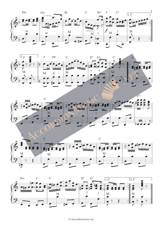 Accordion sheet music of The Entertainer by Scott Joplin - page 3