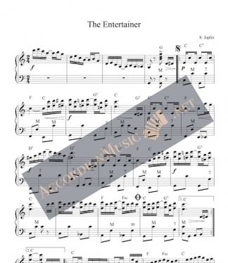 Accordion sheet music of The Entertainer by Scott Joplin