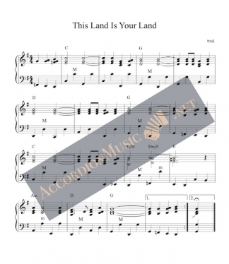 Accordion arrangement of This Land Is Your Land, American folk song.